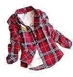 iloits Frauen-Taste Baumwolle lässig Revers Plaids Kontrollen Flannel Shirt Top SWK M ~ XXL