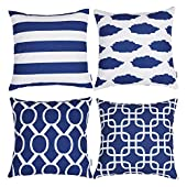 TIDWIACE Blue Cushion Cover Cotton and linen Home Decorative Set of 4  Accent Throw Pillow Covers Case Pillowcases for Outdoor garden bed couch cushions Bedroom Car with Invisible Zipper 45x45cm