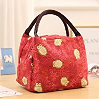 Preisvergleich für Yudanwin Leinwand-Lunch-Tasche Cartoon Eule Tragbare Lunchpaket Isolierung Pack (rot)