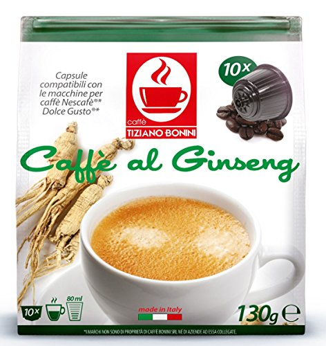 Ginseng Flavored Kaffee - 50 Stück Kompatible Kaffeekapseln von Caffè Bonini Italien. Kompatibel für alle Dolce Gusto®* Maschinen u.a. Grundpreis pro 100g: 3,47€