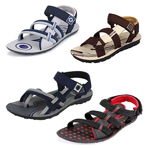 Bersache Men Combo Pack of 4 (Sandals) (8 UK, Multicolor)
