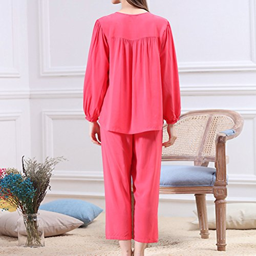 Zhhlaixing Two pieces Casual Sleepwear Womens Fashion Long Sleeves Pyjama Set Red
