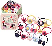 NOCTUA Baby Girls Bow Elastic Ties,Ponytail Holders,Hair Bands,Hair Elastics,Value Set 22 PCS (Style J 22 pcs bow)