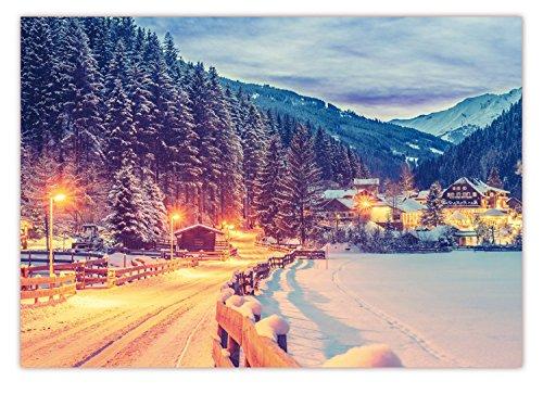 XXL Poster 100 x 70cm (S-823) Tiefverschneite Winterlandschaft mit schneebedeckten Bäumen Ortschaft im Nationalpark Hohe Tauern (Lieferung gerollt!)