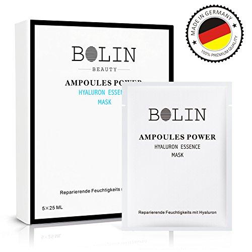 Bolin Hyaluronic Acid & Collagen Mascarilla Piel 5 x 25 ml - Hidratante, Anti-envejecimiento, Hacer la Piel Más Suave - Fabricado en Alemania