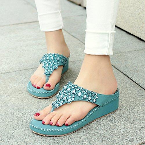 dqq Damen Tanga Strass Stich Keil Sandale Blau