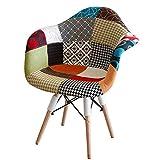Sedia da Pranzo Sedia Visitatore con Braccioli Design Classico Patchwork Sedia Conferenza Ufficio con Schienale Rivestito in Tessuto di Lino 2 pz