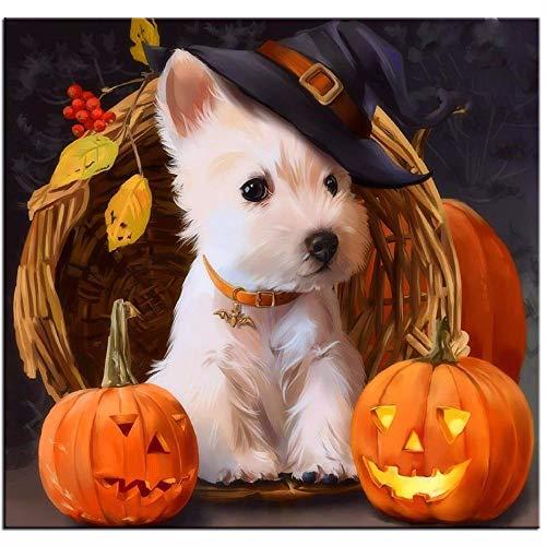 1pc White West Highland Terrier Welpen Westie Hund-Hut Halloween-Kürbis-Haustier-Tier-Acryl Diy Malerei Durch die Anzahl der Hobby-Kit, Home Wand