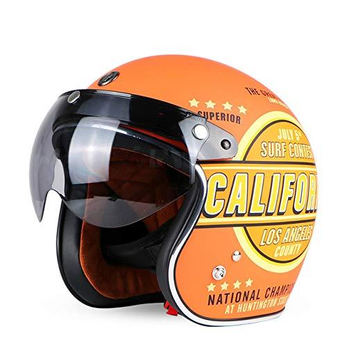 Berrd Casco moto Retro aperto Motocross Motocross Jet Casco retrò Casco moto Tipo 32 W visiera XXL