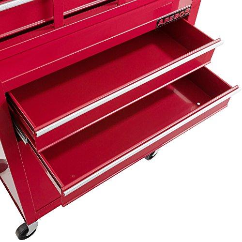 Arebos Werkstattwagen 9 Fächer rot (✓ zentral abschließbar, ✓ Abnehmbarer Werkzeugkasten, ✓ Massives Metall) - 6
