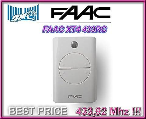 FAAC XT4 433 RC 4-canaux Télécommande BLANC (Model: 787452). 433,92Mhz rolling code pour Porte de Garage!!! FAAC Emetteur de haute qualité pour LE MEILLEUR PRIX!