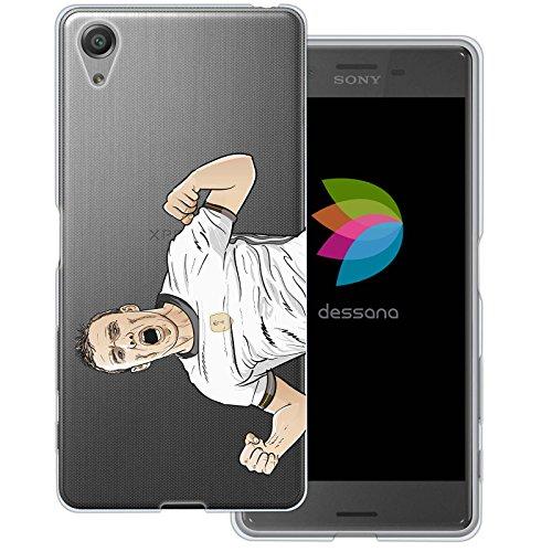 dessana Fußballer Transparente Silikon TPU Schutzhülle 0,7mm Dünne Handy Tasche Soft Case für Sony Xperia X Torjubel