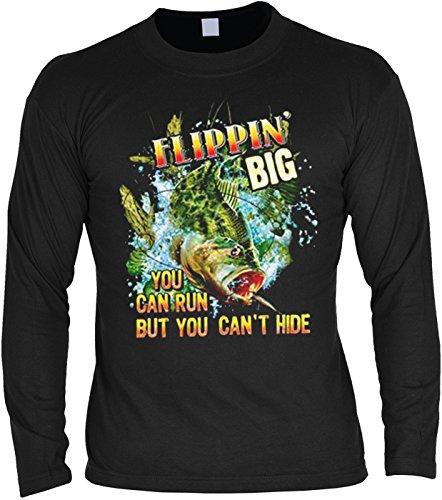 Angler Motiv Langarmshirt Herren Flippin big Fischen Geschenk für Angler Hobbyangler Hobbyfischer Hobby angeln Männer fishing Schwarz