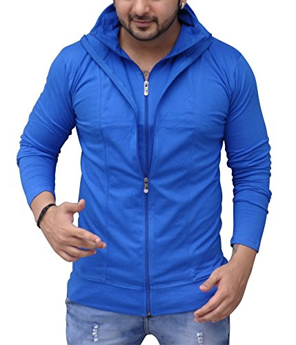 Black Collection Men's Full-Zip Cotton T-Shirt (Blue_Medium)