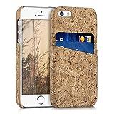 kwmobile Cover per Apple iPhone SE / 5 / 5S - Custodia Rigida in Simil Pelle Hard Case con Porta Carte Marrone Chiaro