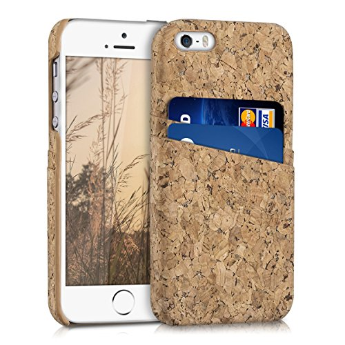 kwmobile Funda dura para Apple iPhone SE / 5 / 5S - Hard Case para móvil de corcho - Cover con tarjetero en marrón claro