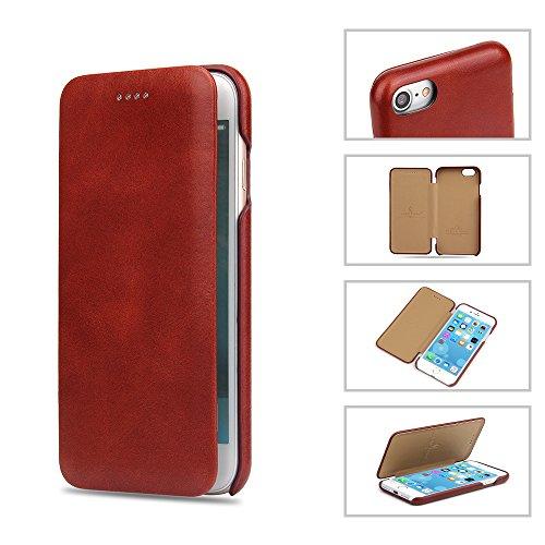 COVO® iPhone 7 Case Cover,Custodia in pelle di cuoio genuino, utilizzo di un lato olio all-inclusive di artigianato squisito, spessore ultra sottile, copertura in cassa di cuoio per iPhone 7 (Rosso) Rosso