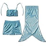 D'amelie Kinder Mädchen Meerjungfrau Schwanz Kostüm 3tlg. Badeanzug Bikini Set