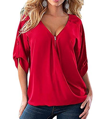 Freestyle Femme Printemps et Automne Tops de Mousseline Loisir Col V Demi Manche Hauts Blouses Casual Chemise T-Shirt red