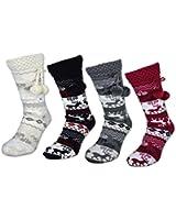 1 bis 4 Damen Socken mit ABS Sohle Innenfell Extra dicke Haussocken Anti Rutsch Sohle - 71300
