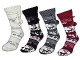 Damen Socken mit ABS Sohle Innenfell Extra dicke Haussocken Anti Rutsch Sohle - 71300 (39-42, Grau)