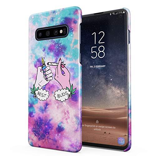 Best Buds Lighting Blunt Trippy Acid Space Dünne Rückschale aus Hartplastik für Samsung Galaxy S10 Plus Handy Hülle Schutzhülle Slim Fit Case Cover Handy Snap Case
