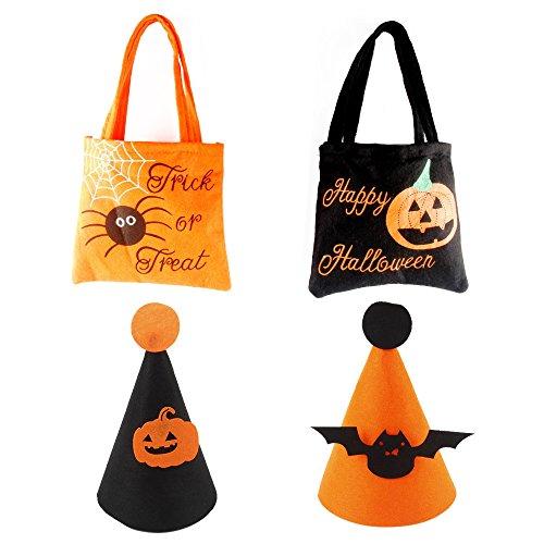 4 Stück Halloween Tasche und Hüte , kürbis-tütchen süßes oder saures süßigkeiten tragen taschen handliche (Halloween Ideen Brauch Für)