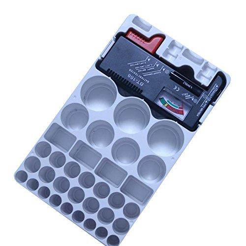 Storage Fall w/Akku Batterie-Tester, Akku Aufbewahrungsbox, Akku Veranstalter, Halterung, stapelbar Akku Organizer Box für AA AAA C D 9V 1.5V Knopfzelle BATTERIEN, ideal Speicher für Zuhause Büros