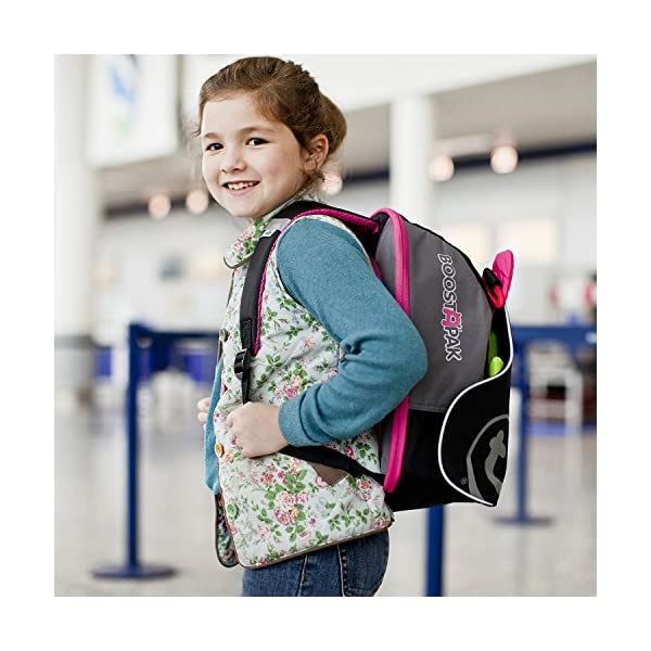 Trunki BoostApak - Travel Backpack & Child Car Booster Seat for Group 2-3 (Pink)  QUICKLY TRANSFORMS - Kid's bag to portable booster cushion in seconds (featuring internal hard shell and fold out seatbelt guides) AVOID HIRE CHARGES - On fly drive holidays! Can also be used as dining, cinema or stadium booster to see the action HAND LUGGAGE - 8-litre capacity for packing toys/games/stationary keeping children entertained on the go 3