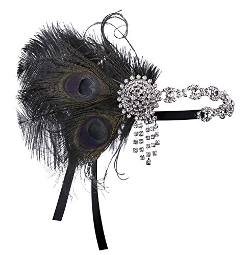 BABEYOND Damen 1920s Stirnband Pfau Feder Kristall Haarband Flapper Kopfstück Great Gatsby Motto Party Kostüm (Band Motto Kostüm)