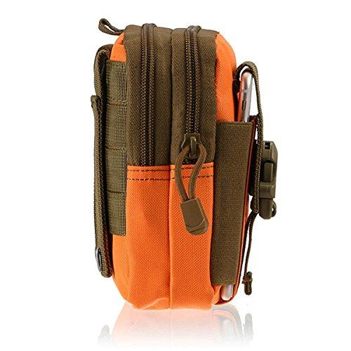 Ges Borsa Tattica Molle EDC Sacca Nylon Impermeabile Porta Oggetti Da Cintura Marsupio Per Esterni Tasche per Cellulare, Black Orange