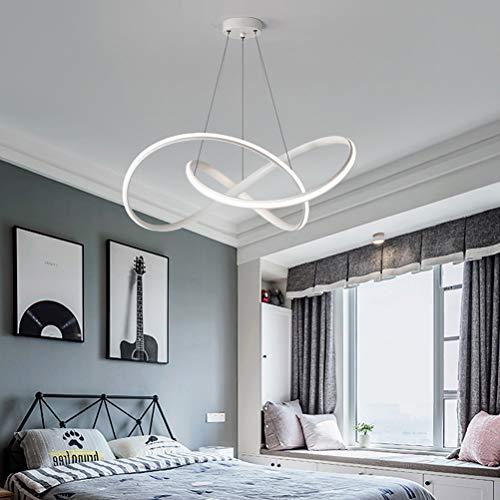 Lámpara LED para comedor o sala de estar, regulable, 3000-6500 K, de acrílico, diseño moderno, altura regulable, para salón, dormitorio, baño, metal, blanco 37.00W 230.00V