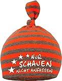 KLEINER FRATZ Baby 1-Zipfel Mütze (Farbe neonorange/grau) (Gr. 2 (74-98)) Nur schauen nicht anfassen/FAT