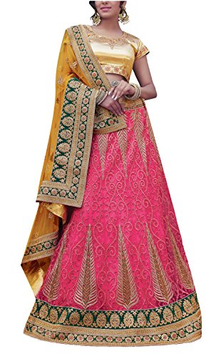 Gajiwal Sarees Women's Net Long Cholis Lehenga Choli (Pink)