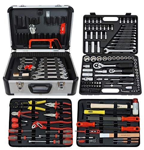 Famex 719-50 - Cassetta degli attrezzi da meccanico, completa di utensili e set di chiavi a tubo, 207 pezzi
