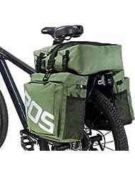 FiveFire impermeable Ciclismo alforja trasero bolsa alforja trasera Triple Pack Bolso Hombro Bolsa Para Sillín de bicicleta 37L multifunción bicicleta asiento trasero Carrier cesta con cubierta , verde