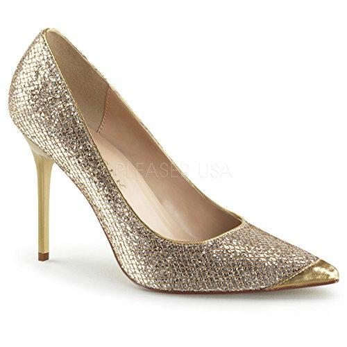 Pleaser CLASSIQUE-20, Chaussures à Talons - Avant du Pieds Couvert Femmes Gold Glittery Lame Fabric
