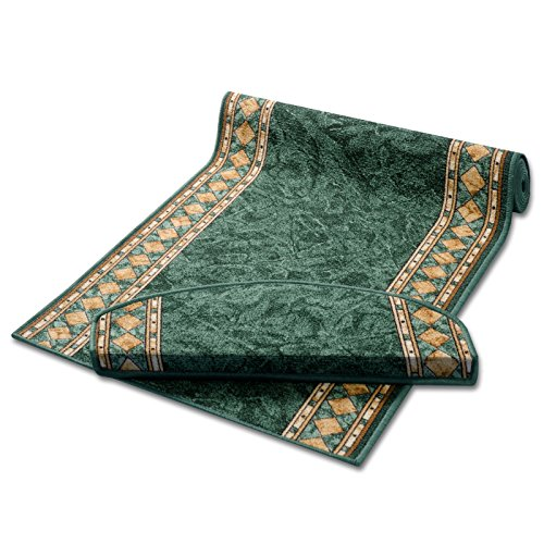 Stufenmatten grün mit aufwendiger Randmusterung | Qualitätsprodukt aus Deutschland | GUT Siegel | kombinierbar mit Läufer | 65x23,5 cm | halbrund | 15er Set