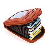 Mcvilla Leder Kredit Kartenetui Kartenmappe Visitenkartenetui Scheckkartenetui Portemonnaie Geldbörse RFID Schutz (Orange)