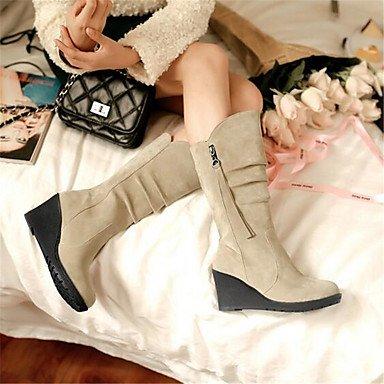 Desy Bottes De Femmes Confortable Amphibiens Pu (polyuréthane) Hiver Casual Confortable Amphibiens Carré Beige Rouge Beige Assiette