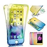 Sycode 360 Grad Gradient Farbe Transparent Beidseitiger Vorne und Hinten Weich Komplette Schale Etui für iPhone 6S Plus / 6 Plus-Blau Gelb