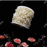 ICTRONIX 60m / Rolle Herz-Perlenband Perlenkette Perlengirlande Perlenschnur Hochzeit Deko Perlen Tischdeko Elfenbein