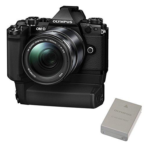 Olympus OM-D E-M5Mark II Power Kit-Motorisierte Kamera (EVIL 16.1MP, Touchscreen 3, Zoom, Bildstabilisator, WiFi) Kit mit Objektiv 14-150mm, Batteriegriff hld-8und BLN schwarz Motorisierte Zoom-kameras