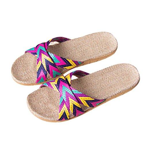 LUCKYCAT Prime Day Amazon, Sandales d'été Femme Chaussures de Été Sandales à Talons Chaussures Plates Mme Hommes Anti-Dérapant Lin Intérieur Intérieur Summer Toe Flats Pantoufles