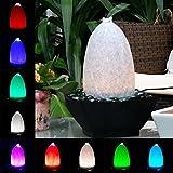 Köhko Wasserlichtspiel 51007 Zimmerbrunnen in Natursteinoptik mit Farbwechsel inkl. 24 Tasten IR-Fernbedienung und Netzteil