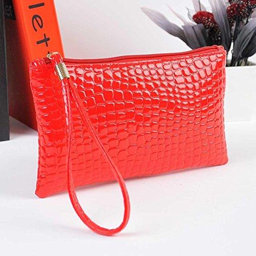 Reasoncool Le donne di modo del modello del coccodrillo della frizione della borsa Rosso