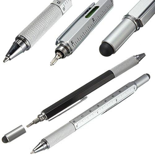 Super 6 in 1 Tech Tool Pen mit Lineal, Kugelschreiber, Levelgauge, Stift und 2 Schraubendreher, Multifunktions-Werkzeuge für Smartmobiles und tablets (Black)