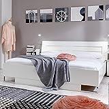 Bett Fana, Futonbett, Weiß, Aufleistung Chrom glänzend, Liegefläche:180X200