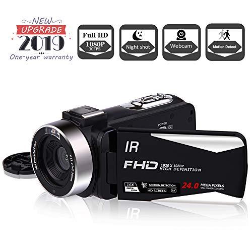 Camcorder Videokamera Full HD 1080P 30FPS Vlogging Kamera Nachtsicht Camcorder Kamera HDMI Ausgangskamera mit Fernbedienung