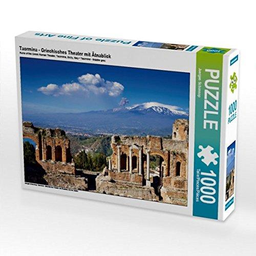 CALVENDO Puzzle Taormina - Griechisches Theater mit Ätnablick 1000 Teile Lege-Größe 64 x 48 cm Foto-Puzzle Bild von Juergen Schonnop
